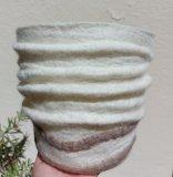 cache-pot-laine-feutrée-beige-cappuccino-seul