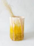vase-recouvert-de-laine-feutrée-dégradé-orangé-griffé-rose-1
