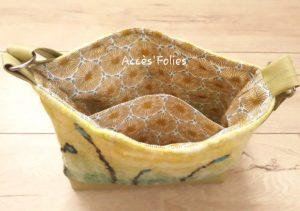 sac en laine feutrée anis végétaux noirs turquoises