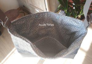sac en laine feutrée gris libellule