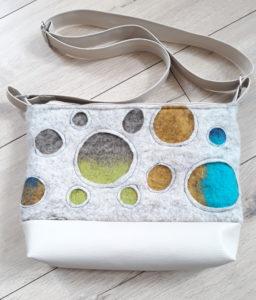 sac laine feutrée bulles