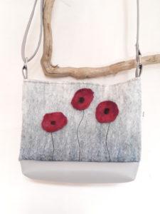 sac laine feutrée gris motifs coquelicots