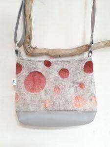 sac laine feutrée petit format motif bulles rosées