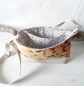 sac léopard en laine feutrée, simili beige, doublé coton assorti