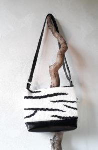 sac zèbre en laine feutrée simili cuir et doublé coton