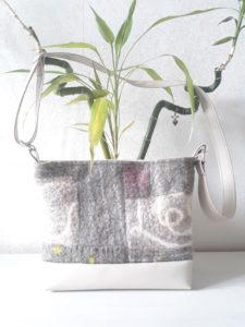 sac laine feutrée crème pois anis patchwork