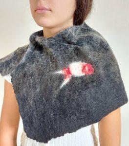 snood laine feutrée coton broderie